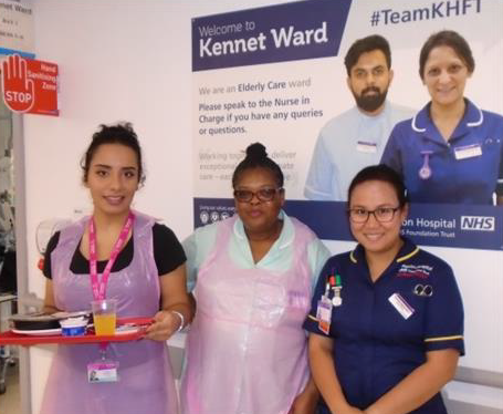 Three members of staff standing at the entrance to Kennet Ward